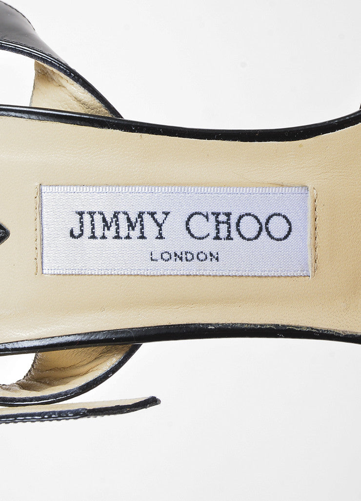 "Jimmy Choo Black Patent Leather Peep Toe ""Linda"" Platform Buckled Pumps Brand"