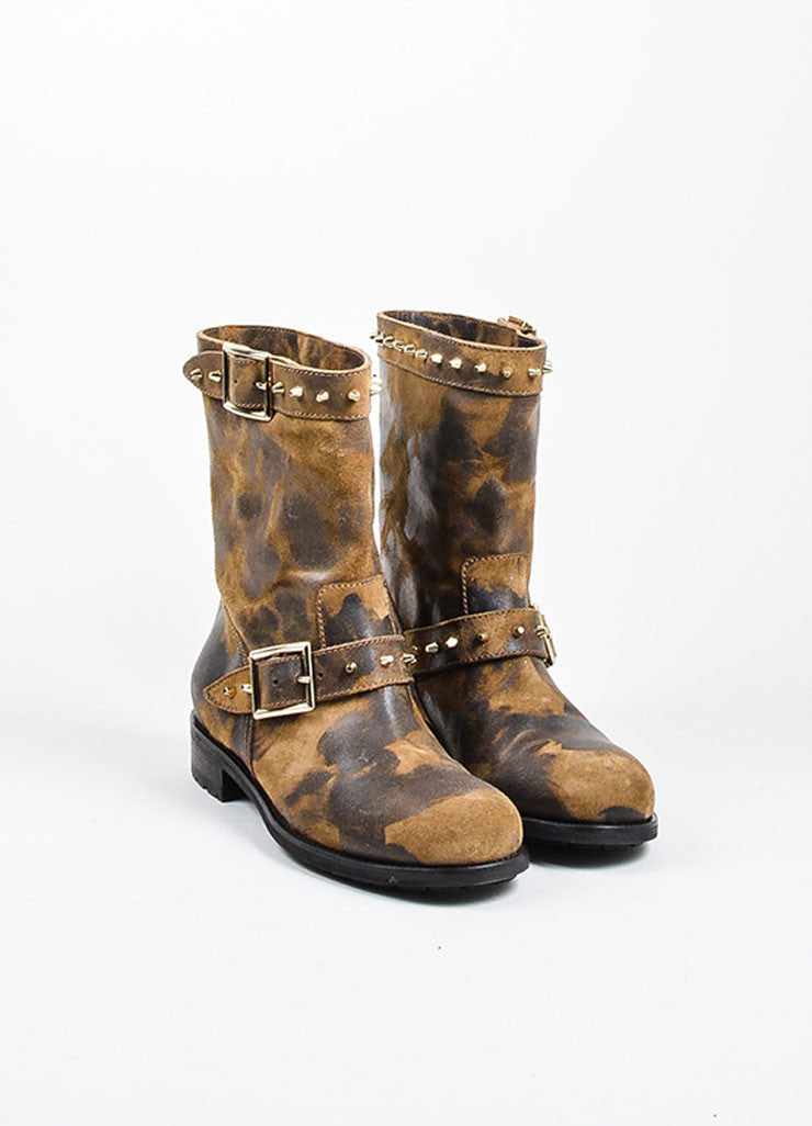 "Brown Jimmy Choo Waxed Suede Studded ""Dash"" Boots Frontview"