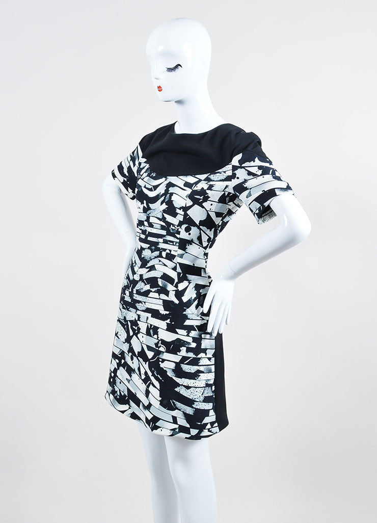 Black and White Kenzo Abstract Splatter Print Short Sleeve Fit and Flare Dress Sideview