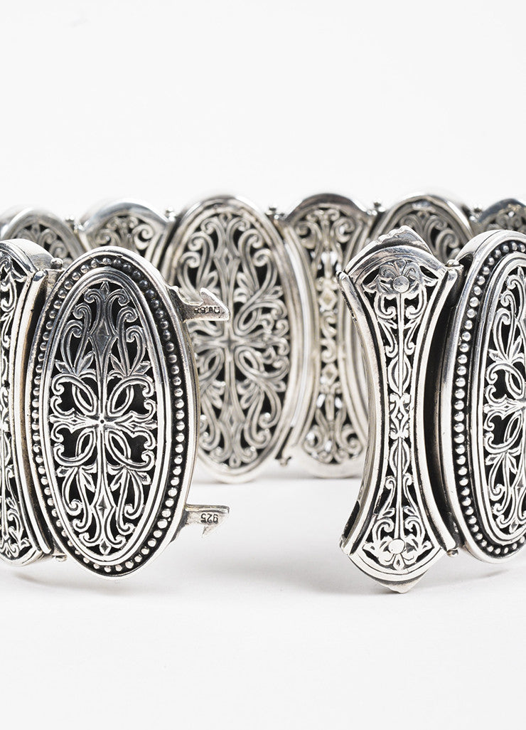 Konstantino Sterling Silver Filigree Etched Wide Oval Link Bracelet Detail 2