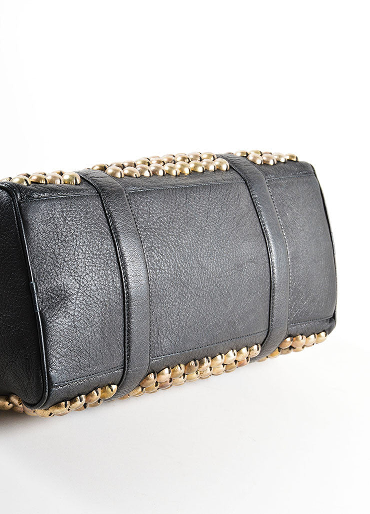 Lanvin Black and Gold Toned Distressed Studded Leather Barrel Bag Bottom View