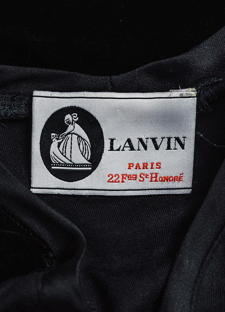 Black Lanvin Velvet Belted V-Neck Short Sleeve Dress Brand