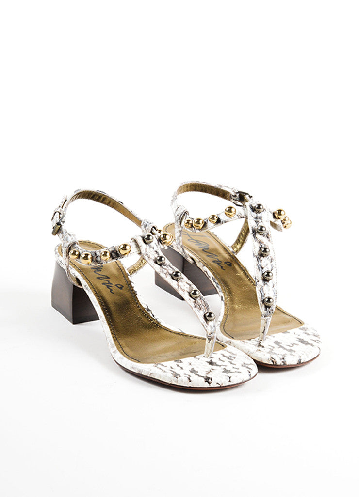 Lanvin White and Grey Snakeskin Studded Chunky Heel Thong Sandals Frontview