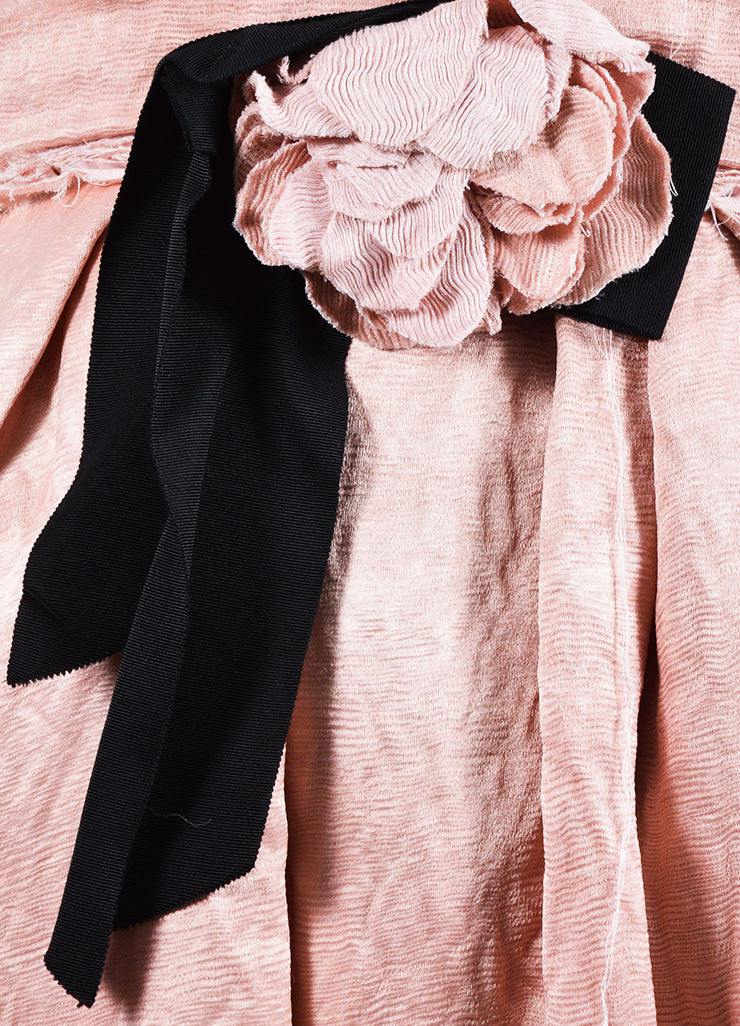 Blush Pink Lanvin Linen Textured Flower Bow Pleated Dress Detail