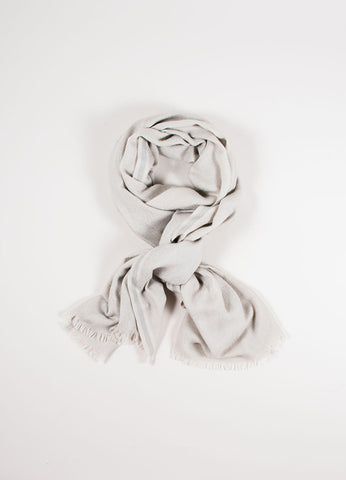 Loro Piana Beige Cashmere and Silk Fringe Scarf Front