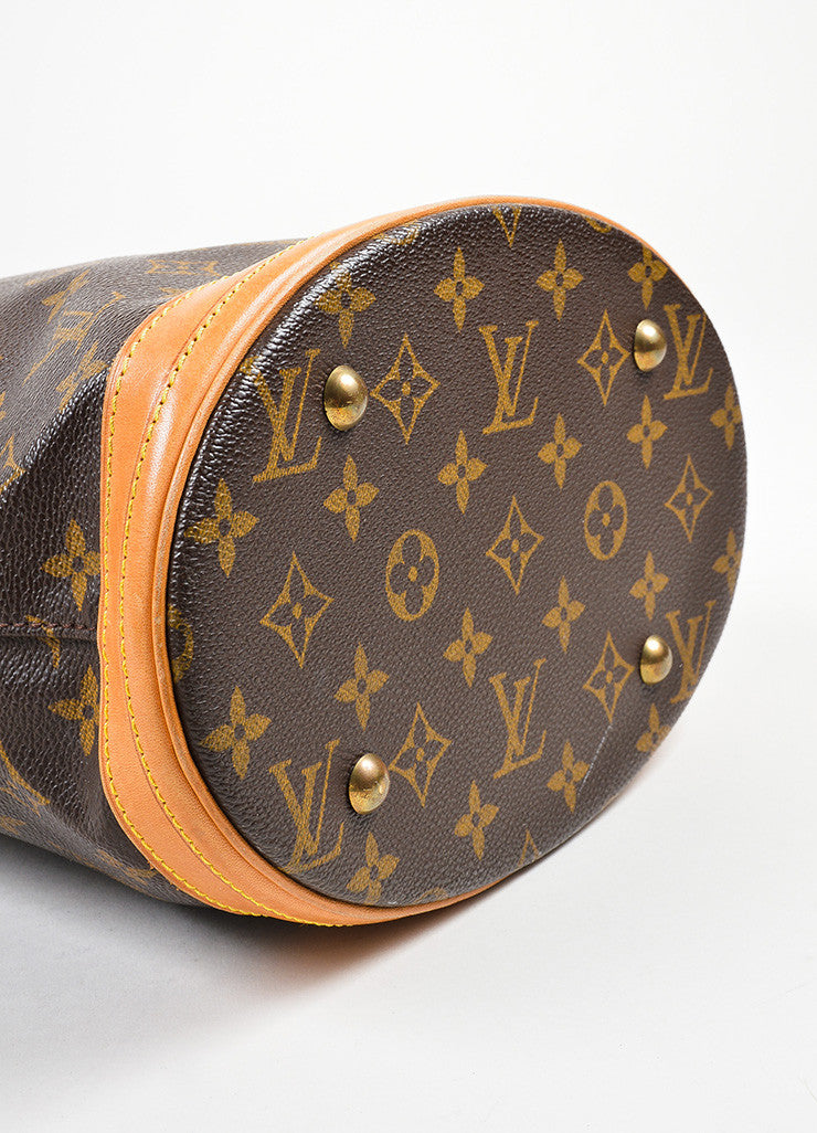 "Brown Louis Vuitton Coated Canvas Monogram ""Petit Bucket"" Tote with Pochette Bottom View"