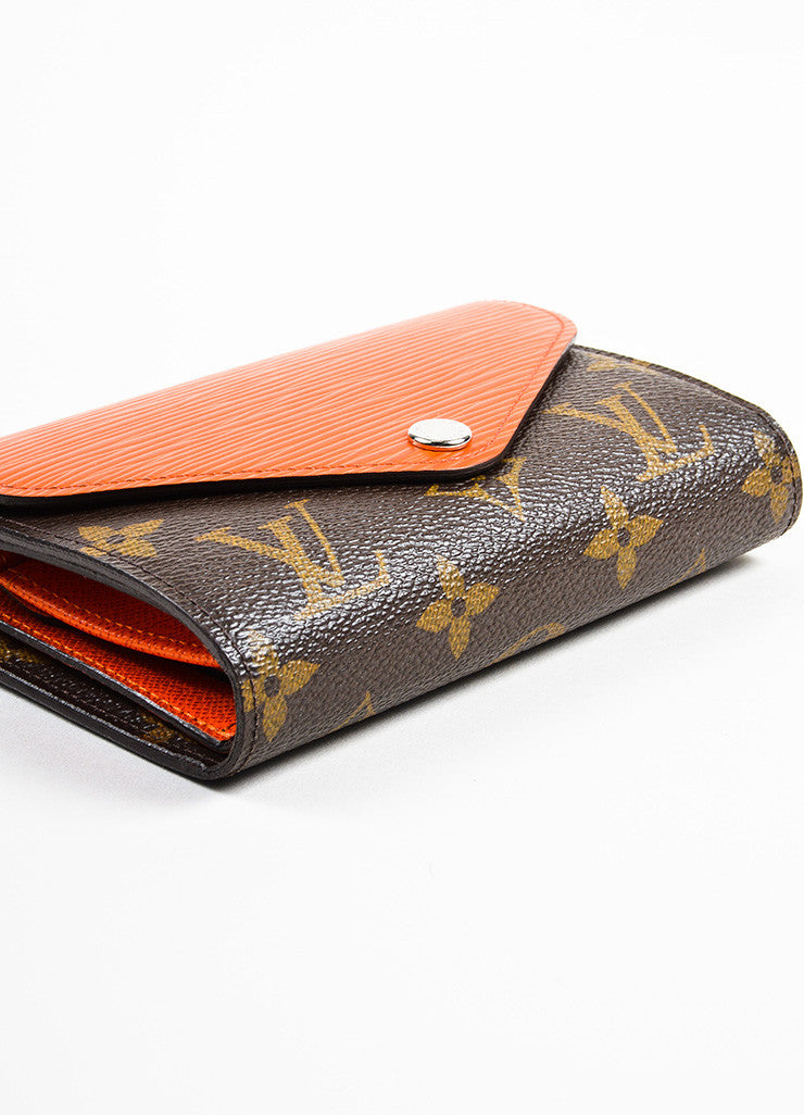 "Louis Vuitton Brown and Orange Epi Leather Monogram Compact ""Marie-Lou"" Wallet Bottom View"