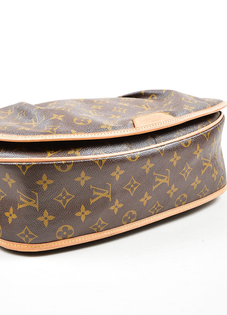 "Brown and Tan Louis Vuitton Coated Canvas Monogram ""Menilmontant MM"" Shoulder Bag Bottom View"