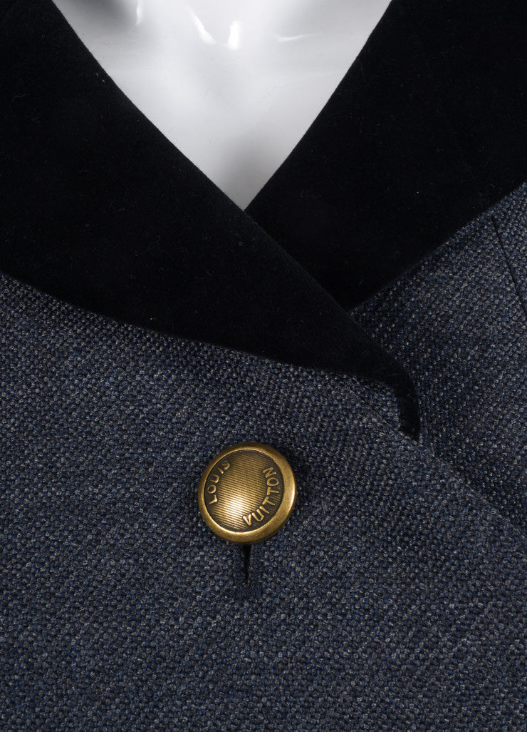 Louis Vuitton Navy Blue and Grey Wool Velvet Trim Double Breasted Coat Detail