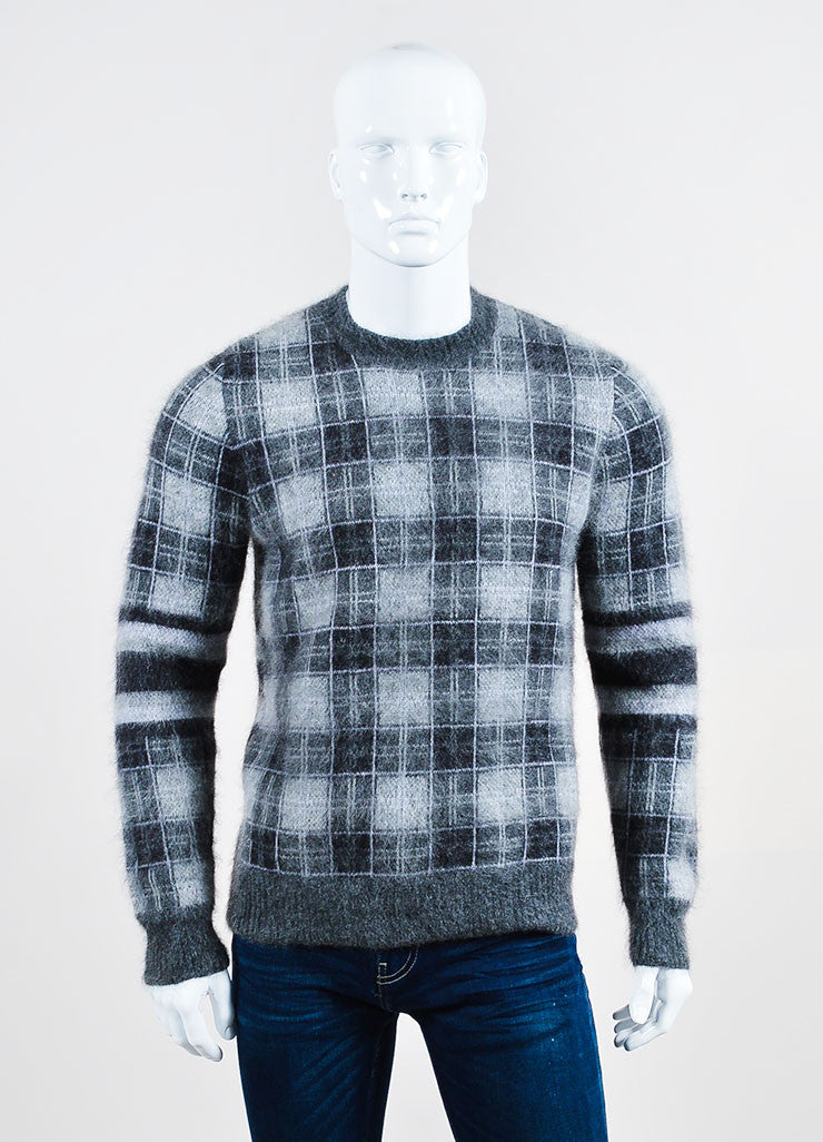 Men's Givenchy Grey Mohair Wool Plaid Crew Neck Pull Over Sweater Front