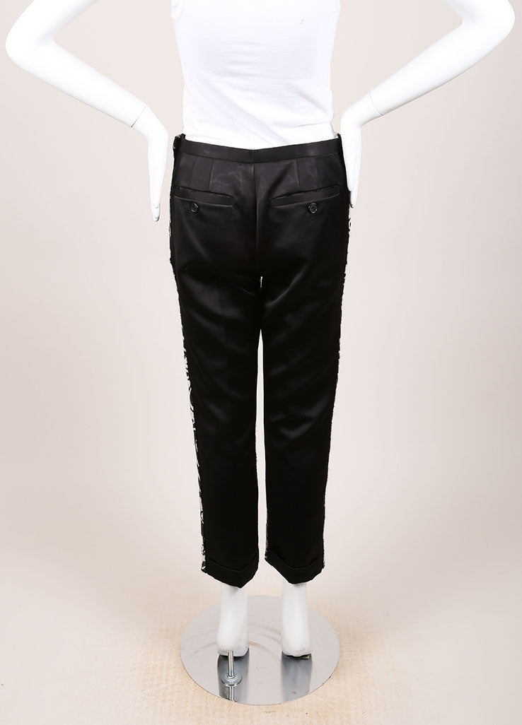 Marc Jacobs Black and Cream Wool and Satin Contrast Brocade Paisley Trouser Pants Backview