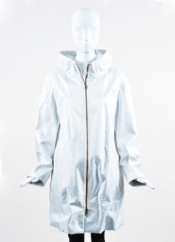 Marni White Opalescent Gathered Hem Coat Frontview