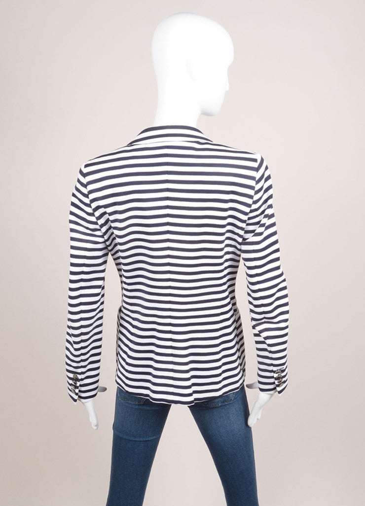Max Mara White and Navy Knit Stripe Double Breasted Long Sleeve Blazer Backview