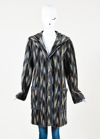 Missoni Brown Black and Grey Mohair Blend Striped Hooded Cardigan Front