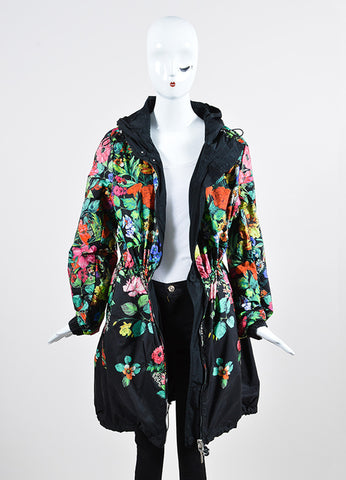 Black and Multicolor Moncler Floral Print Reversible Drawstring Anorak Rain Coat Frontview 2