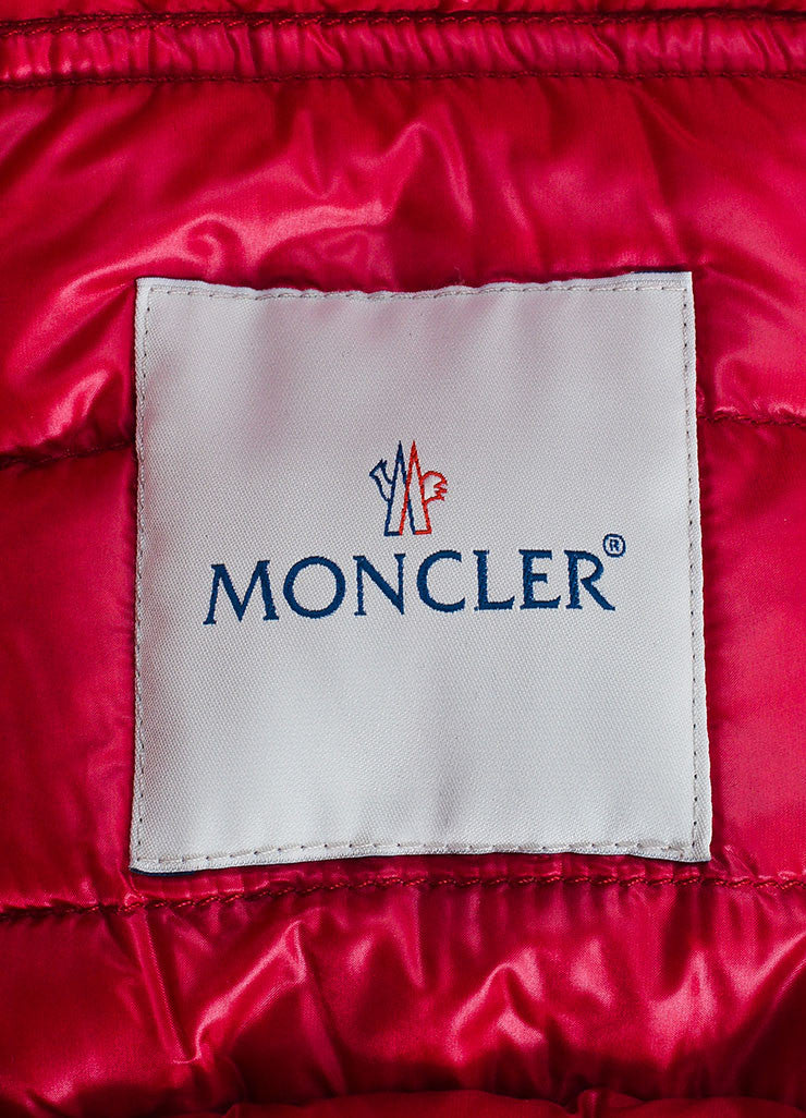 Cherry Red Moncler Channeled Puffer Stand Collar Jacket Brand