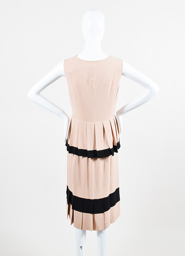 Nude and Black Moschino Pleated Tier V-Neck Sleeveless Dress Backview