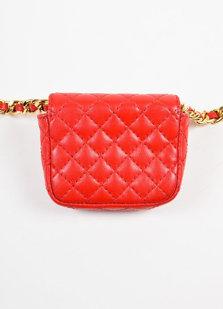 Moschino Red and Gold Toned Leather Quilted Mini Crossbody Belt Bag Backview