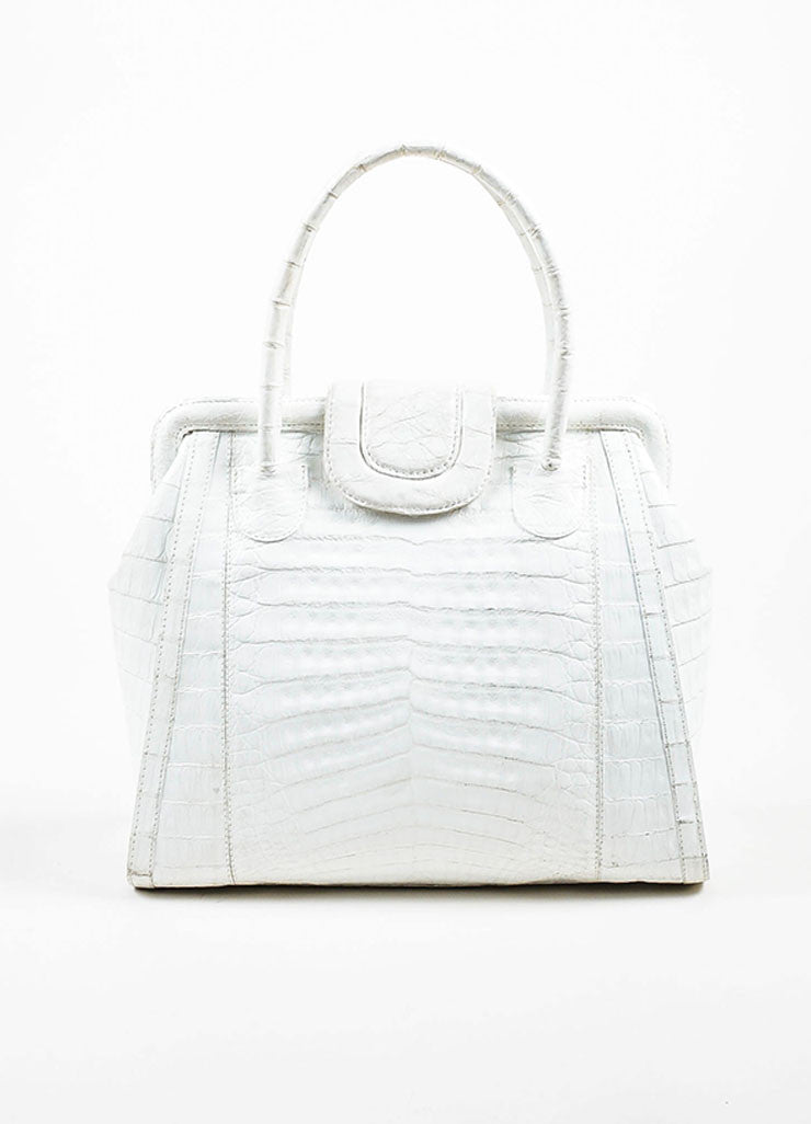 White Nancy Gonzalez Genuine Crocodile Leather Structured Satchel Bag Frontview
