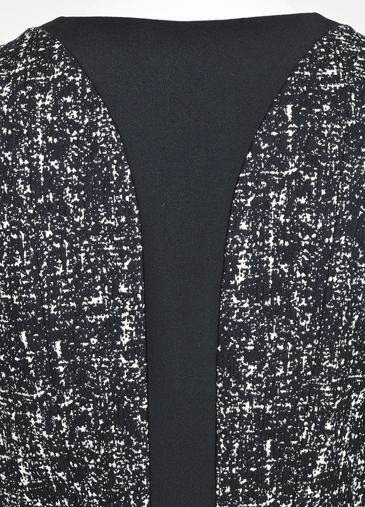 Black and White Narciso Rodriguez Tweed Stretch Scuba Combo Jacket Detail