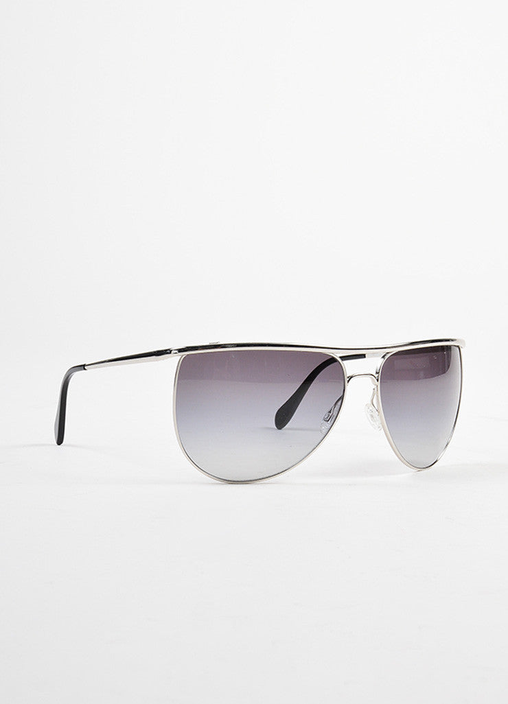 "Oliver Peoples for Balmain Silver Toned ""Balmain 2"" Aviator Sunglasses Sideview"