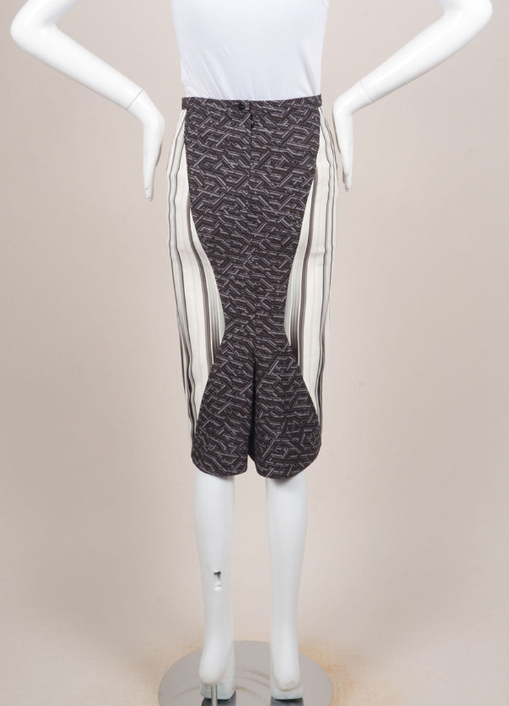 "Peter Pilotto New With Tags Grey and Cream Mirror Geometric Print ""H"" Skirt Backview"