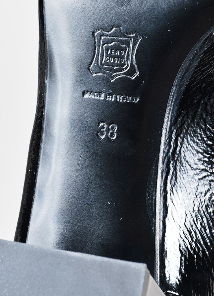 "Pierre Hardy Black Textured Patent Leather ""Ace"" Chelsea Boots Brand"