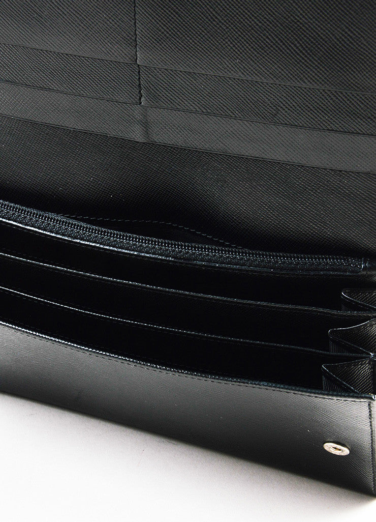 Prada Black Saffiano Leather Continental Wallet Interior