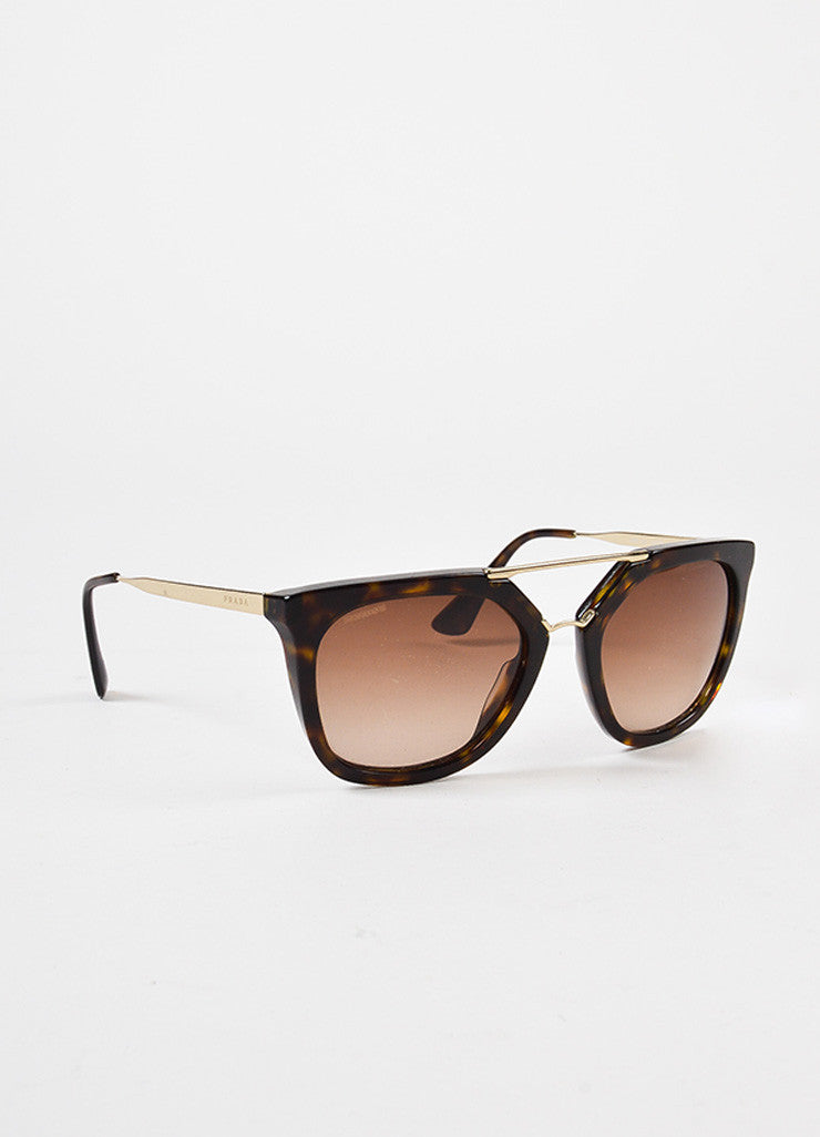 Prada Brown Tortoise Shell Gold Toned Square Two Bar Sunglasses Sideview
