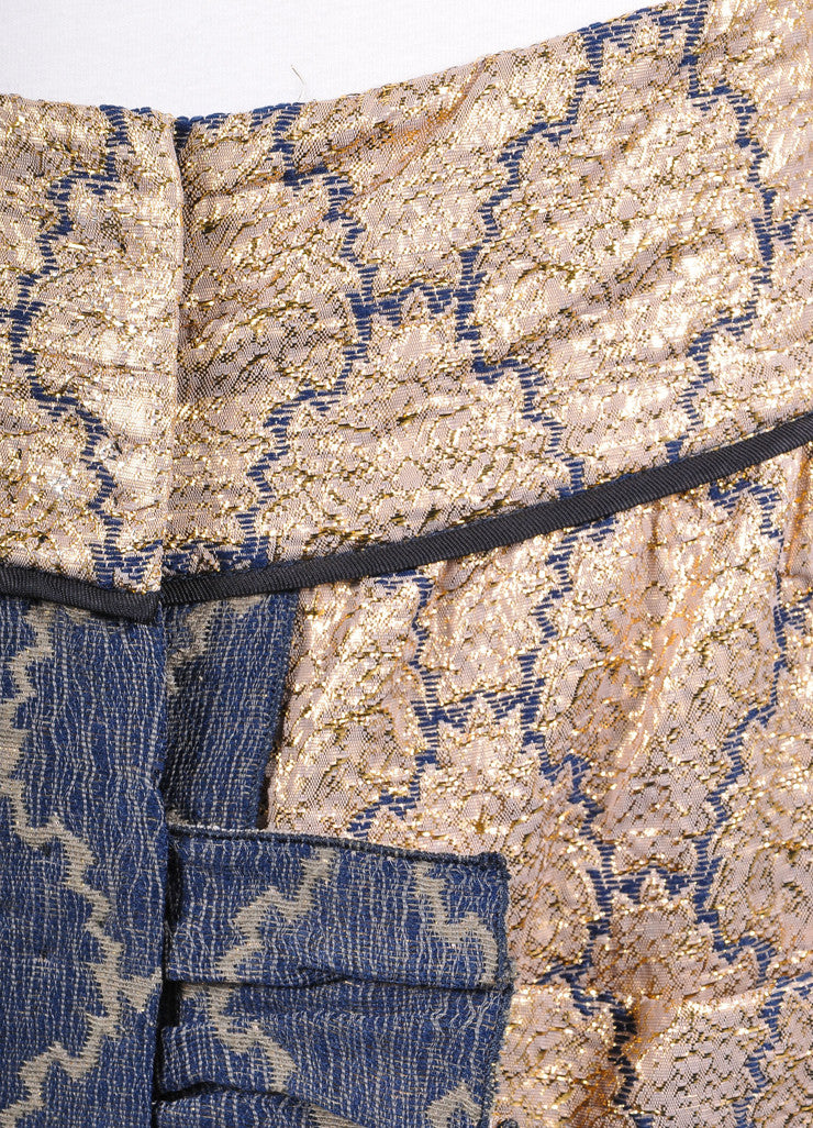 Prada Gold Metallic and Blue Brocade Embroidered Ruffle Trim Pocketed Skirt Detail