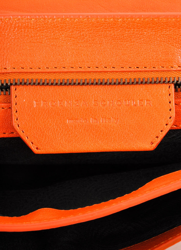 "Proenza Schouler Orange Leather Latch Flap ""PS1 Pochette"" Clutch Bag Brand"