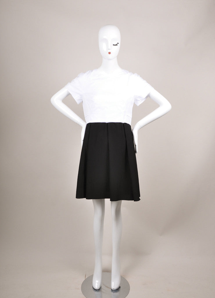 Proenza Schouler New With Tags Black and White Cap Sleeve Crepe Skirt Combo Dress Frontview