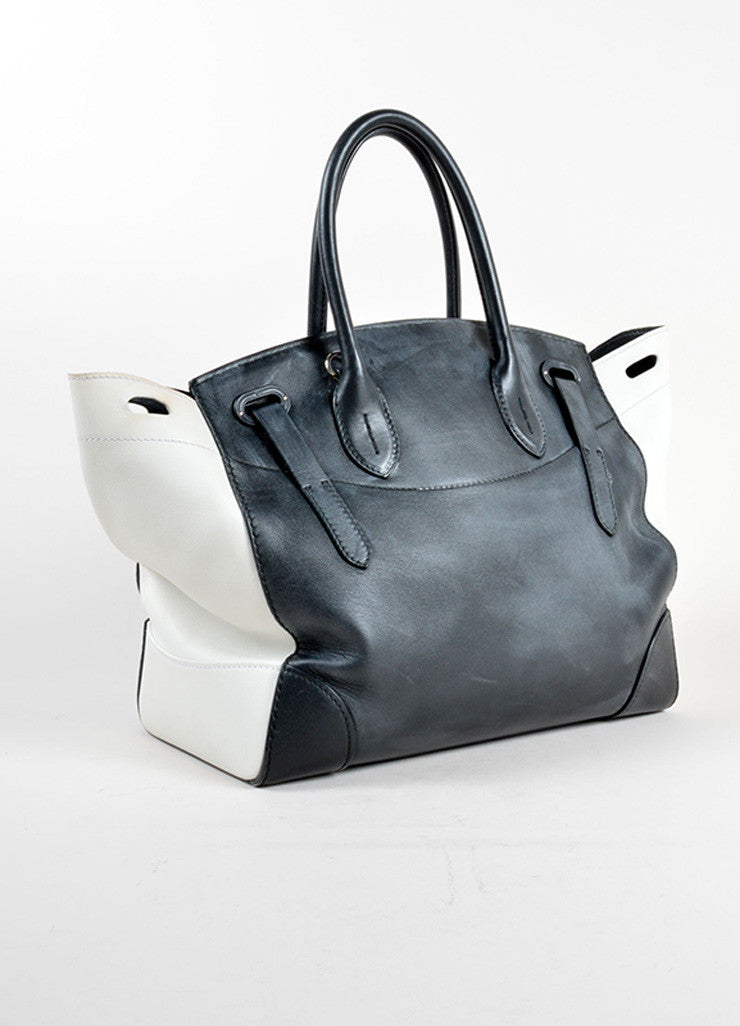 "Ralph Lauren Black and White Leather Color Block ""Soft Ricky"" Bag Backview"