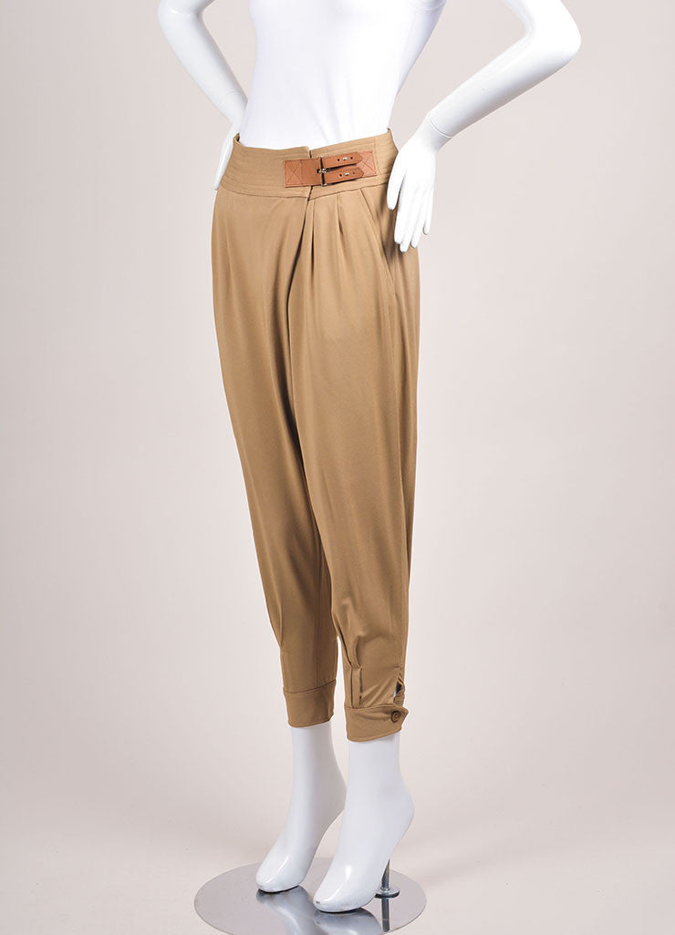 Ralph Lauren New With Tags Tan Pleated Tapered Pants Sideview