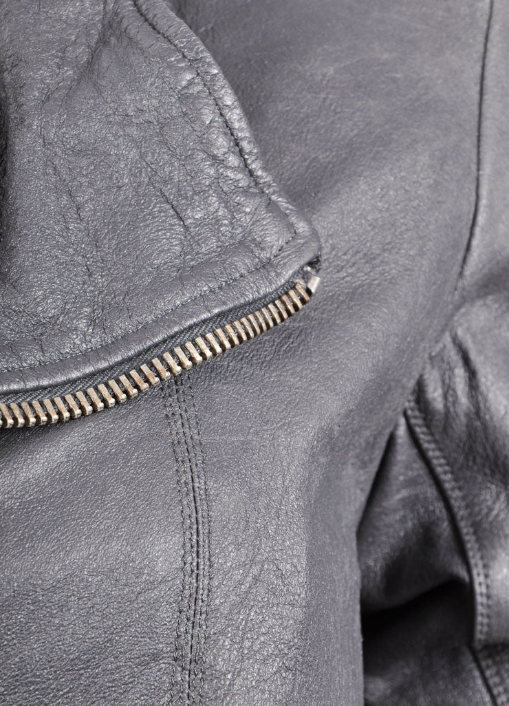 Rick Owens Grey Slanted Zip Leather Bomber Jacket Detail