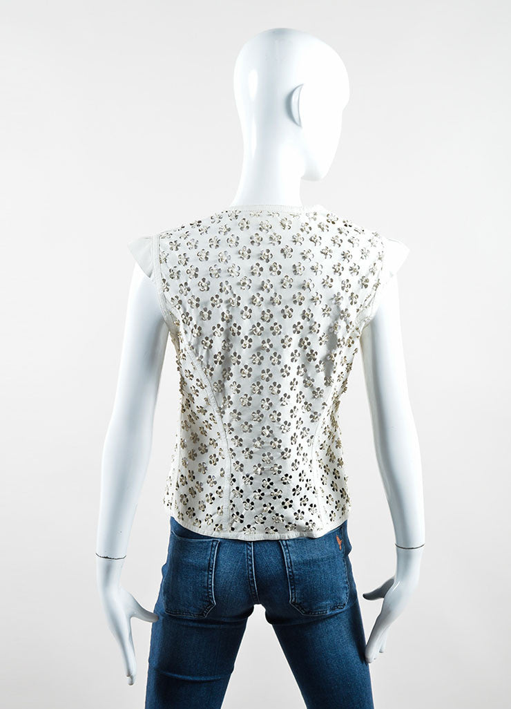 Robert Cavalli Ivory Leather Perforated Cut Out Vest Backview