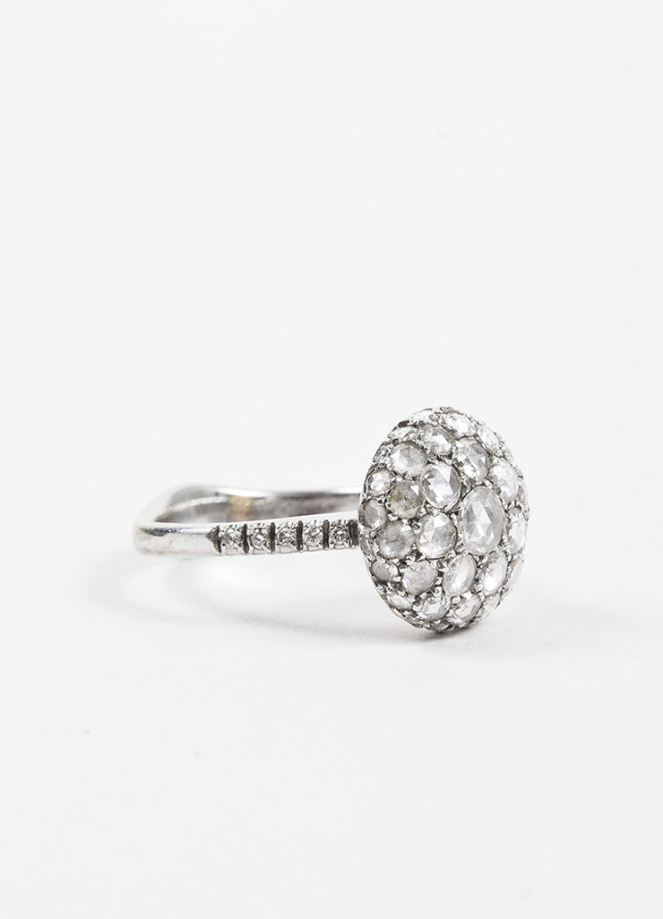 "Roberto Marroni 18K White Gold and Diamond ""Baby Sand"" Cocktail Ring Sideview"