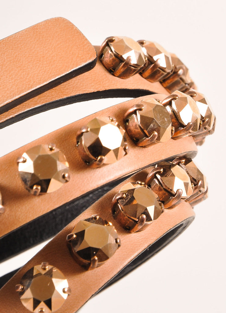 Ronald Pineau New With Tags Nude Leather Rhinestone Studded Skinny Belt Detail 2