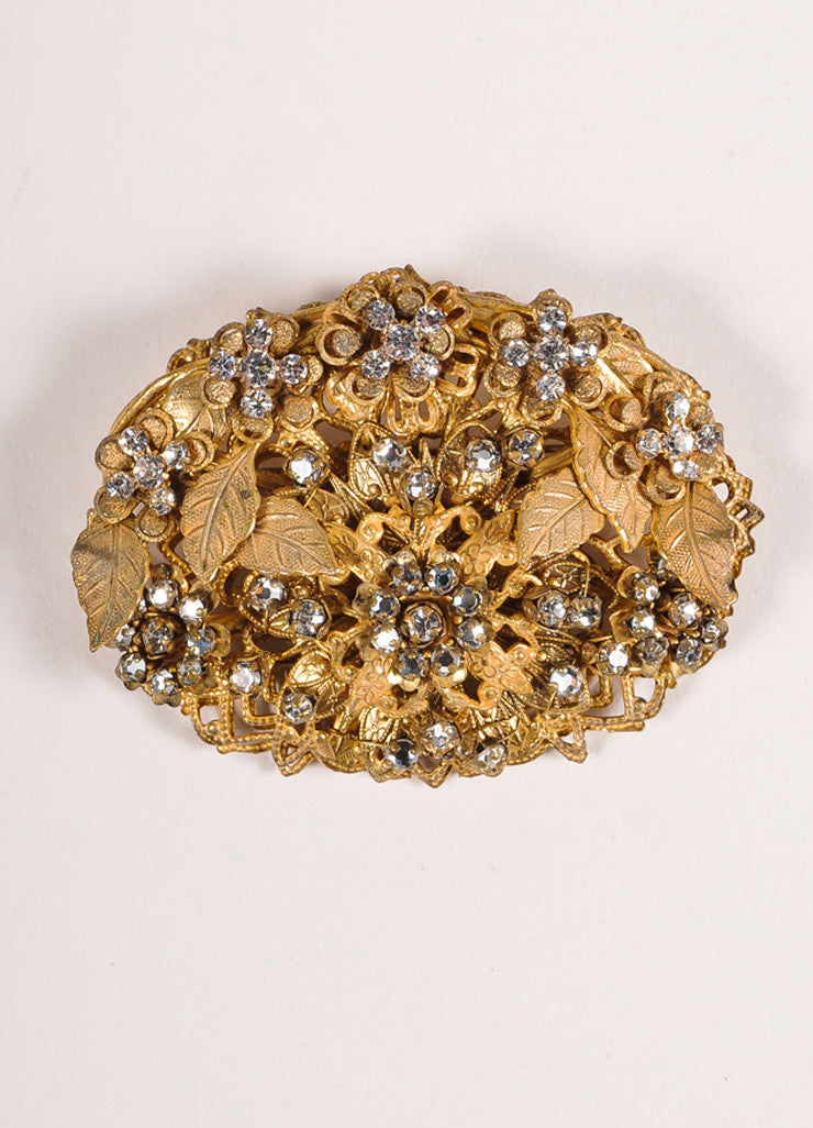 Stanley Hagler Gold Toned and Rhinestone Embellished Oval Flower Pin Brooch Frontview