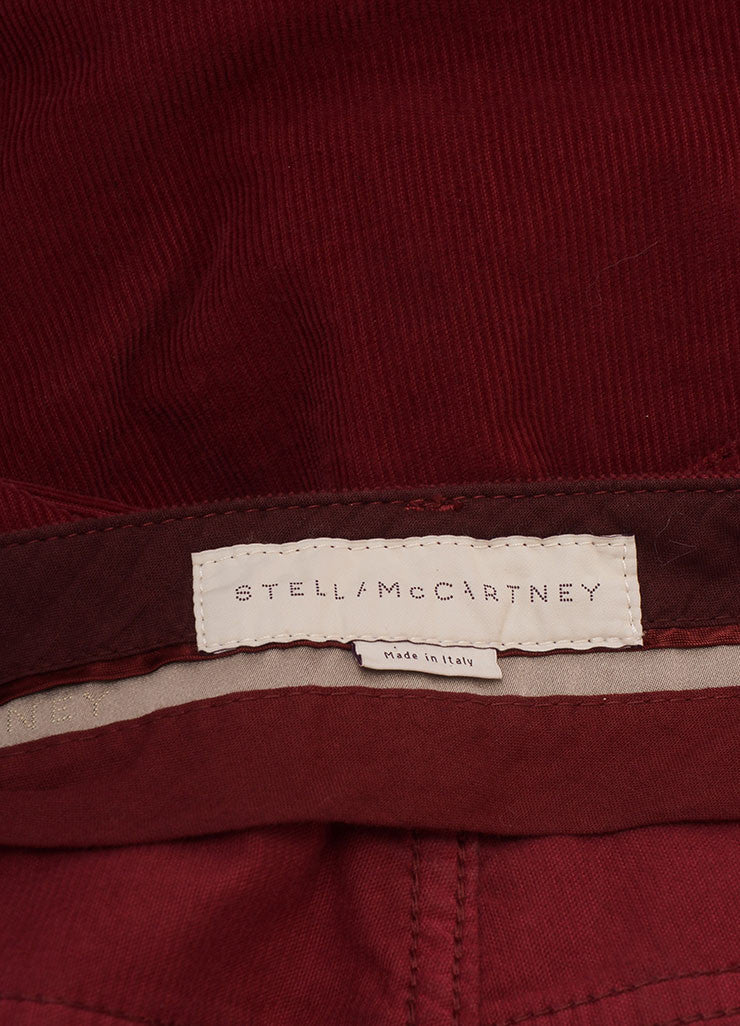 Stella McCartney New With Tags Red Cotton Corduroy Wide Leg Flare Pants Brand