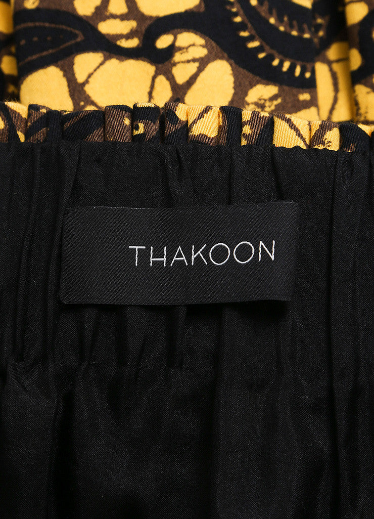 Thakoon Yellow, Black, and Brown Feather Splatter Print Pleated Skater Skirt Brand