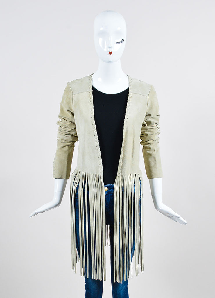 "The Perfext Beige Suede Laced ""Christy"" Long Fringe Jacket Frontview"