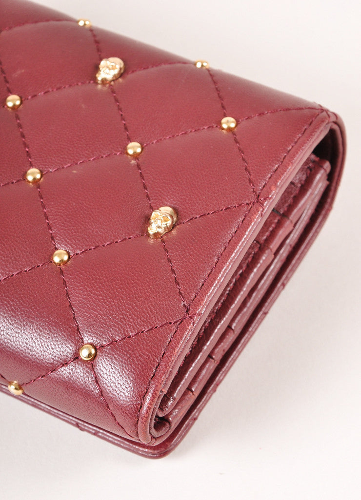 Thomas Wylde New With Tags Burgundy Leather Gold Toned Skull Studded Snap Wallet Detail