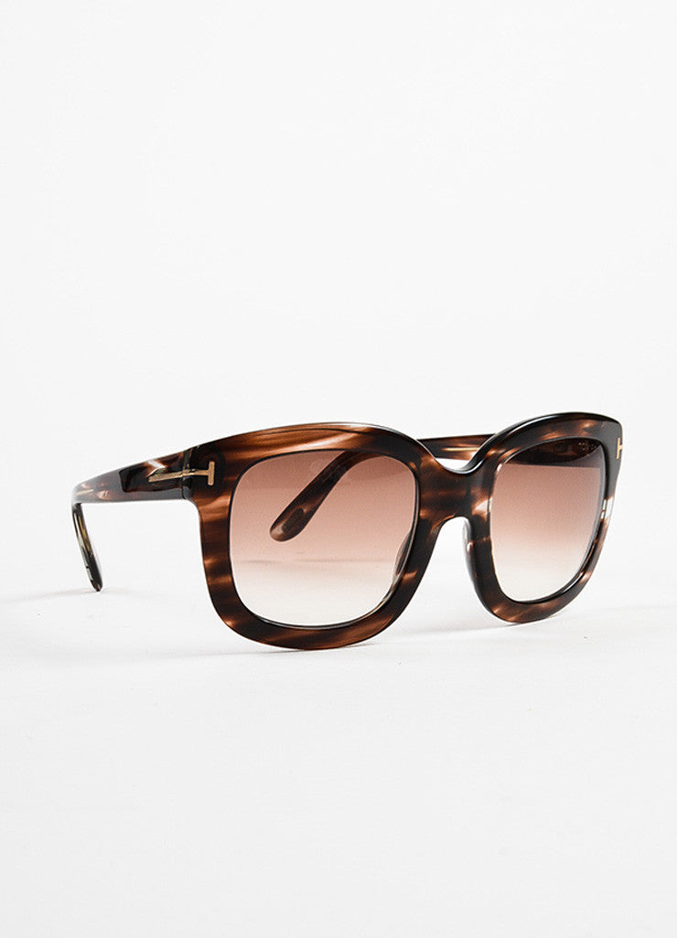 "Brown Tom Ford Striped Frame Ombre Lens Square ""Christophe"" Sunglasses Front"