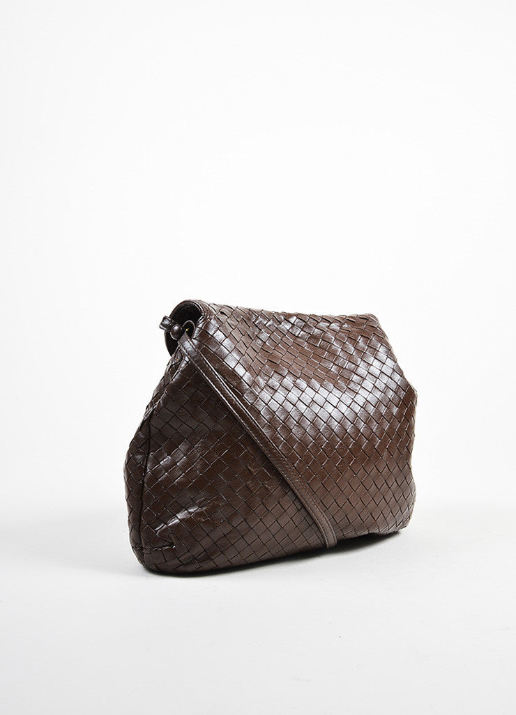 Bottega Veneta Brown Woven Leather Shoulder Bag Sideview