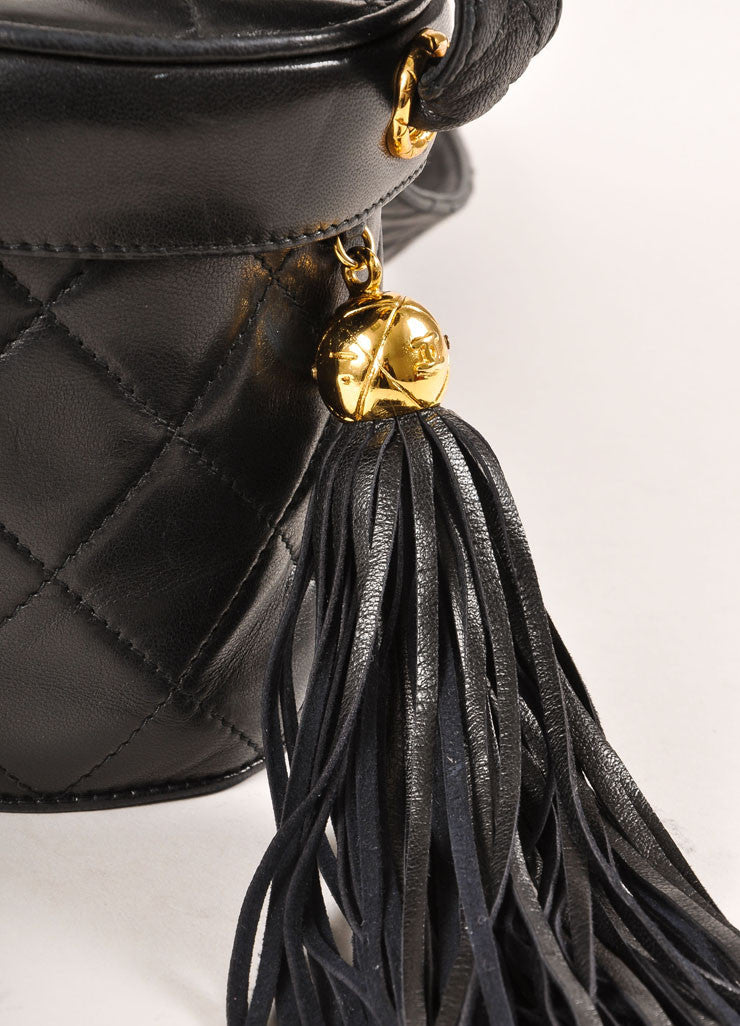 Chanel Black Quilted Lambskin Leather Tassel Vanity Case Bag Detail 2
