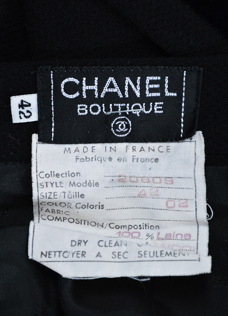 Black Chanel Wool and Velvet Pencil Skirt Brand