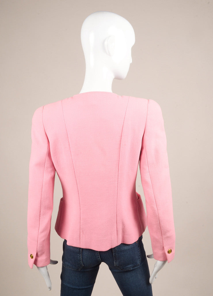 "Chanel Pink ""CC"" Button Crepe Wool Collarless Jacket Backview"