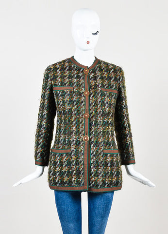 Brown and Teal Chanel Tweed Ribbon Trim Jacket Frontview 2