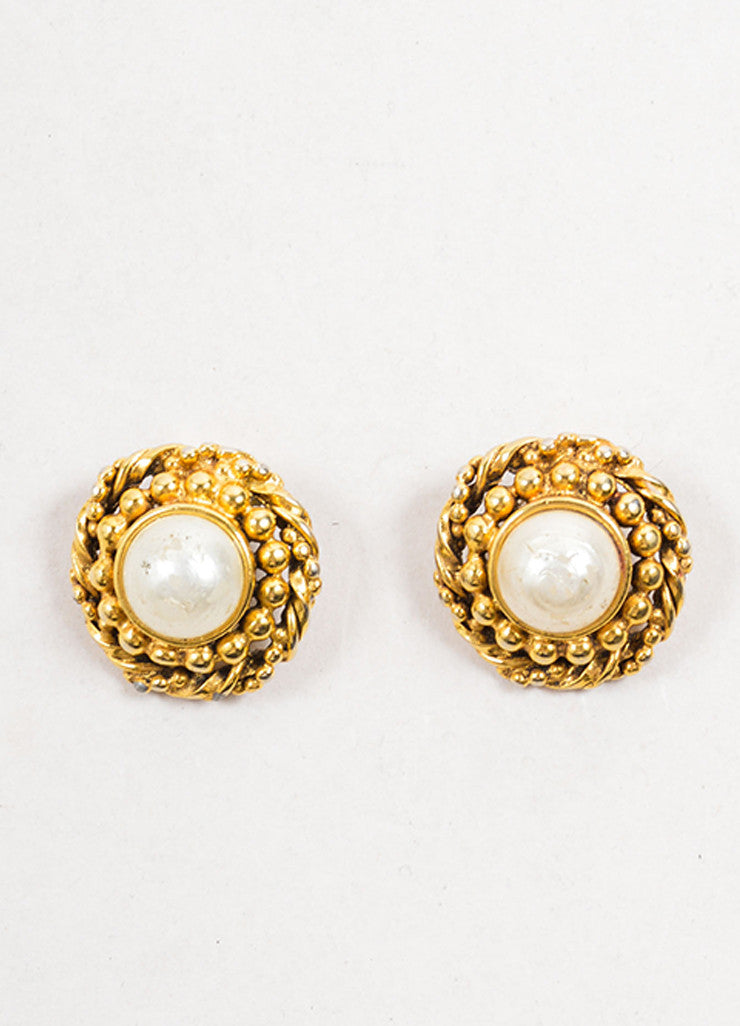 Chanel Gold Toned and Faux Pearl Textured Round Earrings Frontview